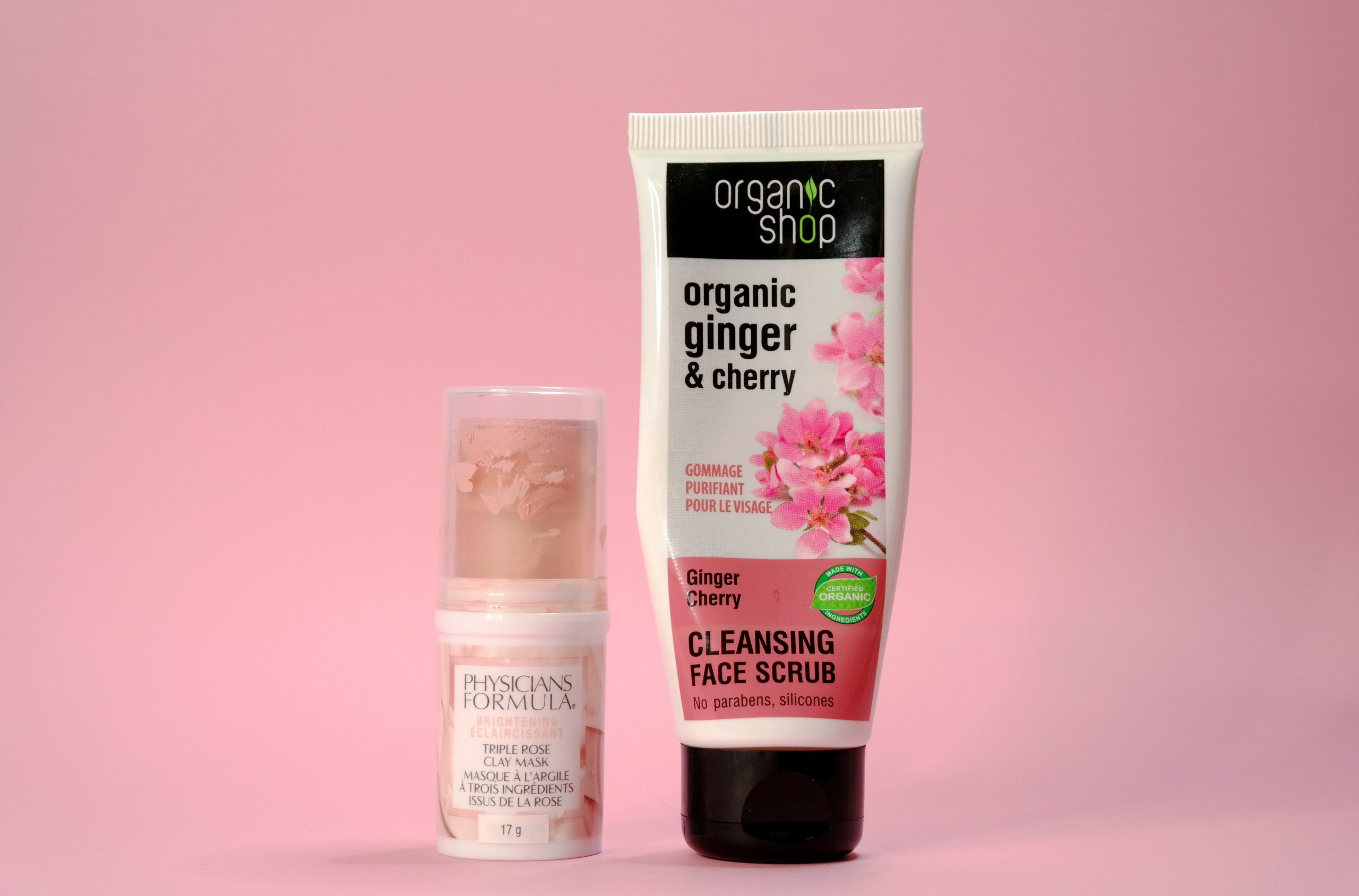 Physicians formula triple rose clay mask, Organic shop ginger cherry cleansing scrub