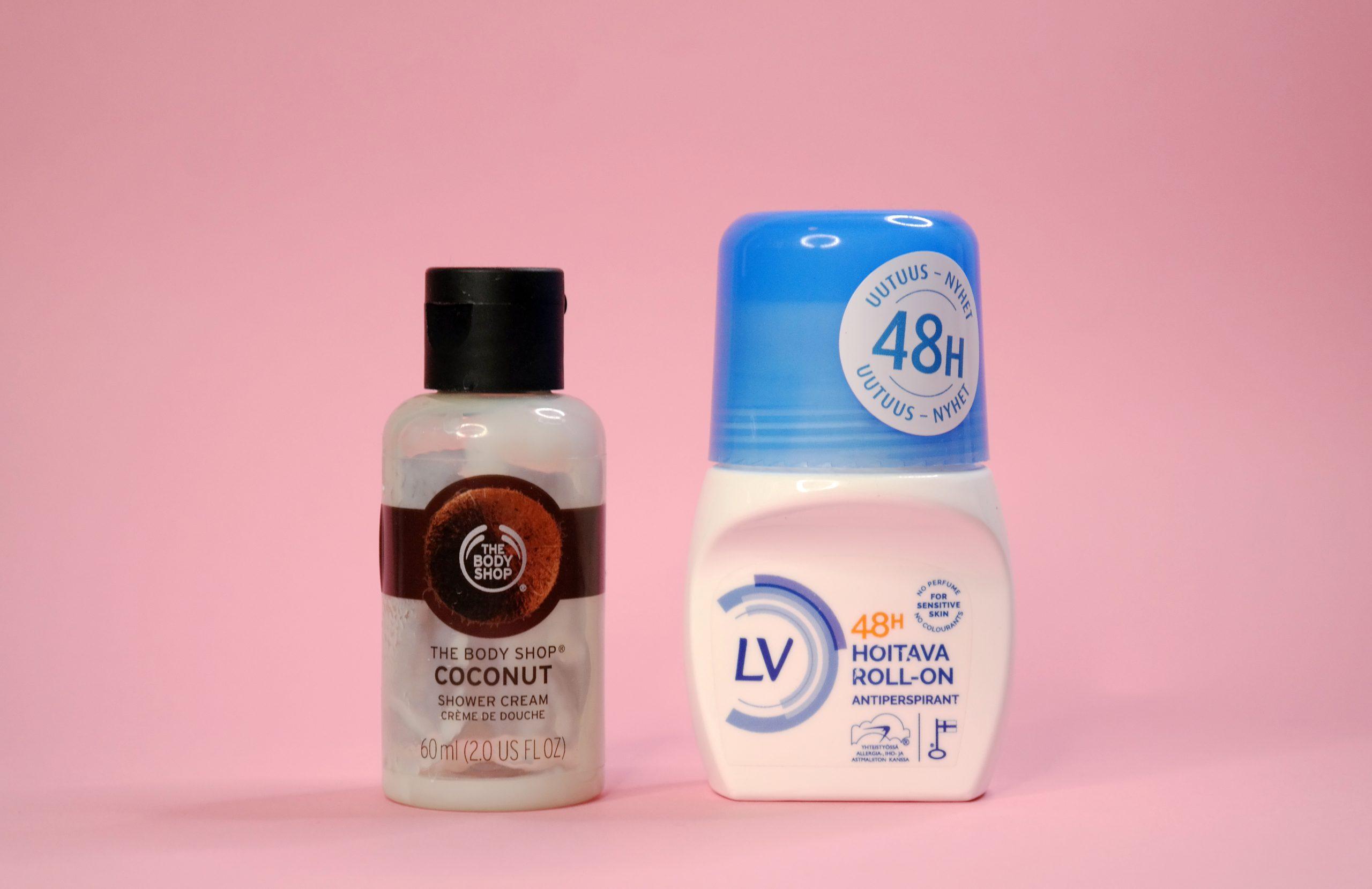 The Body Shop Coconut shower cream, LV Hoitava Roll-on antiperspirantti